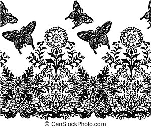 flower and butterfly seamless lace pattern