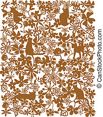 flower and cat pattern - drawing of beautiful flower pattern...