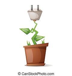Flower and electric plug - Cartoon illustration.