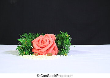 Flower and grass photoshoot on sand. Valentine's day