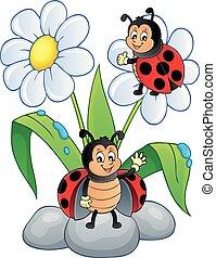 Flower and happy ladybugs theme image 1