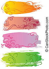 Flower and heart banners