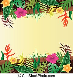 Flower and leaves with copy space background.