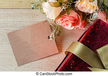 flower and tag with gift box for your text vintage style, valentine concept