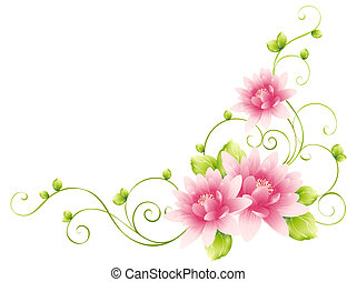 flower and vines - illustration drawing of beautiful flower...