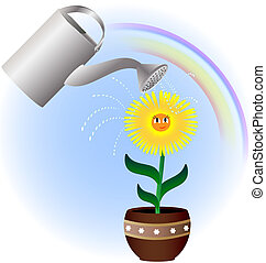 flower and watering can - against the background of the...