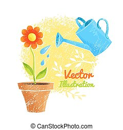 Flower and watering can. Vector illustration.