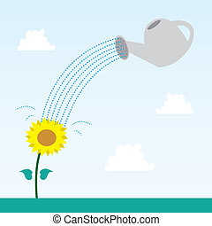 Flower and Watering Can - Flower and watering can with sky...