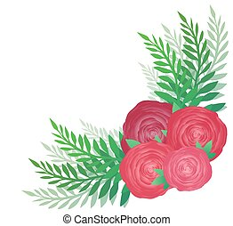 Flower angular pattern with roses and leaves. Vector element for decorating cards, invitations, and your creativity