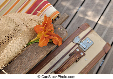 flower arm resting on a deckchair beside a retro suitcase