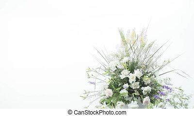 Flower Arrangement - Blue flowers in decorative leek flower...
