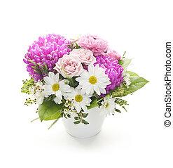Flower arrangement - Bouquet of colorful flowers arranged in...