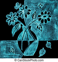 Flower Arrangement - Vase of flowers in the night