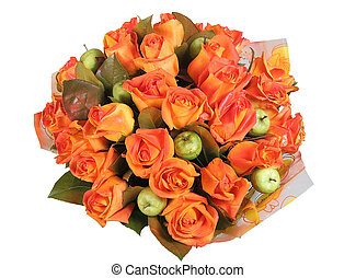 Flower Arrangement, floral  bunch with orange roses and green apples.