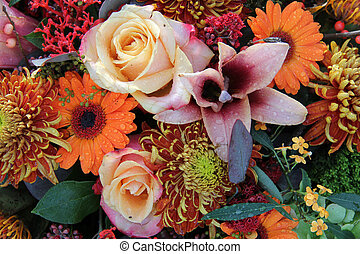 Flower arrangement in autumn colors