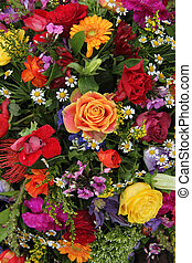 Flower arrangement in bright colors