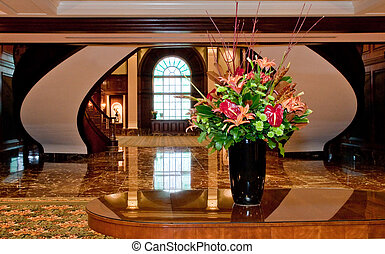 Flower Arrangement in Decorated Office Lobby