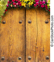 Flower Arrangement On Timber Background