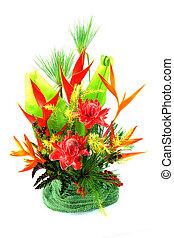Flower arrangement. - Flower arrangement with tropical...
