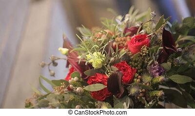 flower arrangement wedding bouquet close up shooting inside...