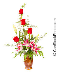 Flower arrangement with lily and roses isolated on whit
