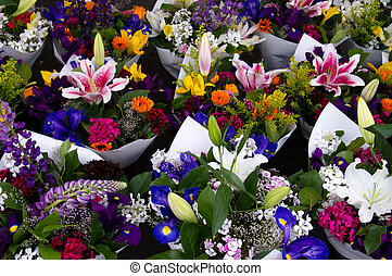 Flower arrangements ready for sale at the farmer's market
