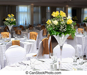 Flower arrangment on wedding tables