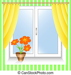 Flower at a window. - Window and yellow curtains. A ...