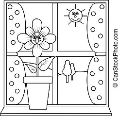 A flower next to a window for colouring in book