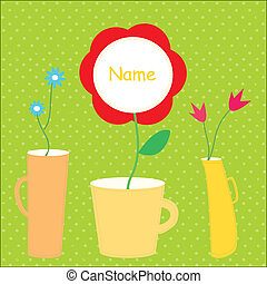 Flower baby card with vases funny design