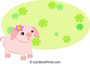 Flower Background and Pink Pig