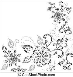 Flower background, contours - Floral background, symbolical...