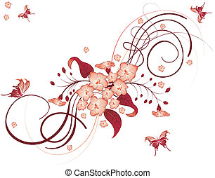 Flower background - Flower Background with Butterfly, ...