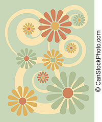 Illustration of stylized flowers on a green background.