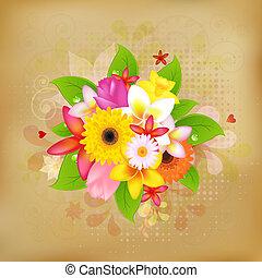 Flower Background On Old Paper, Vector Illustration