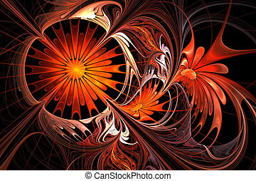 Flower background. Orange and black palette. Fractal design....