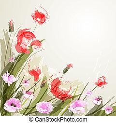 Flower background. Poppy - Flower background. EPS 10. Vector...