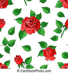 Flower beautiful vector seamless background, roses, flowers and leaves