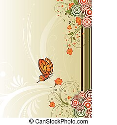 Flower background with circle and butterfly, element for...