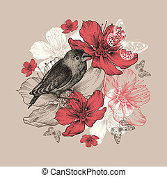 Flower background with bird, butterfly and flowering apple trees.