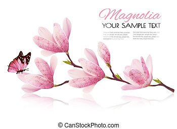 Flower background with blossom branch of pink magnolia and butterfly. Vecto