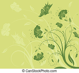 Flower background with butterfly