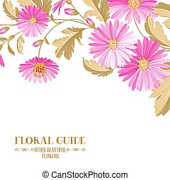 Flower background with violet flowers for yor wedding design in provence style. Vector illustration.