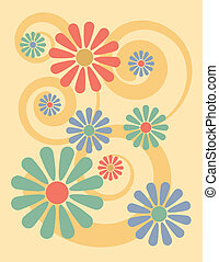 Flower Background Yellow - Illustration of stylized flowers...