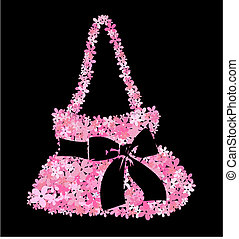 bag full of pink flowers