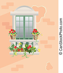 an illustration of a fancy window with balustrade and decorative flower pots against a rose colour wall in summer