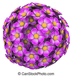Pink flowers in a sphere or ball to illustrate spring growth and floral beauty