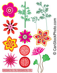Flower, bamboo and pattern - Stock Vector Illustration: Set...