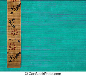 Flower Bamboo Banner on Aquamarine Ribbed Wood