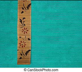 Flower bamboo banner on aquamarine